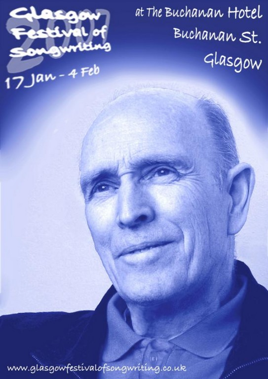 a poster with a picture of lan Davidson with dates for the Glasgow Festival of songwriting